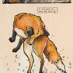 Fox jumping in Puddle
