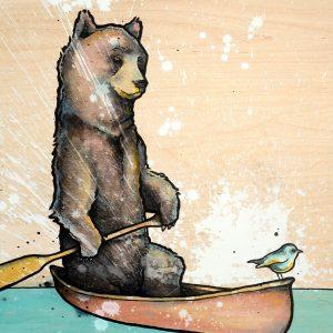 bear in canoe with bird on lake
