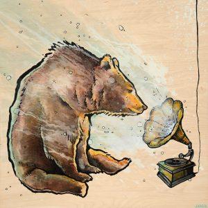 Bear gramophone music