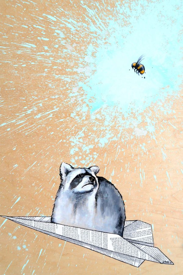 Racoon flying in paper airplane trying to relate to the bee